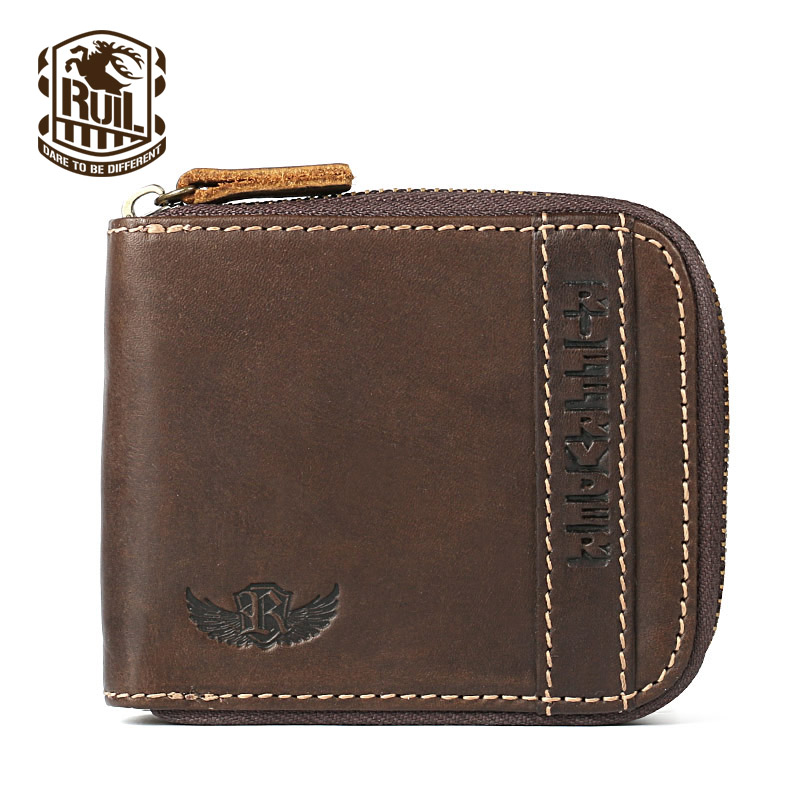 Ruil Top quality Fashion Crazy Horse Genuine Leather Men Purse Wallet coin pocket purse card Wrist Bag  Pockets With Zipper  new sale fashion genuine leather business trends men purse top quality wallet coin pocket purse card free shipping