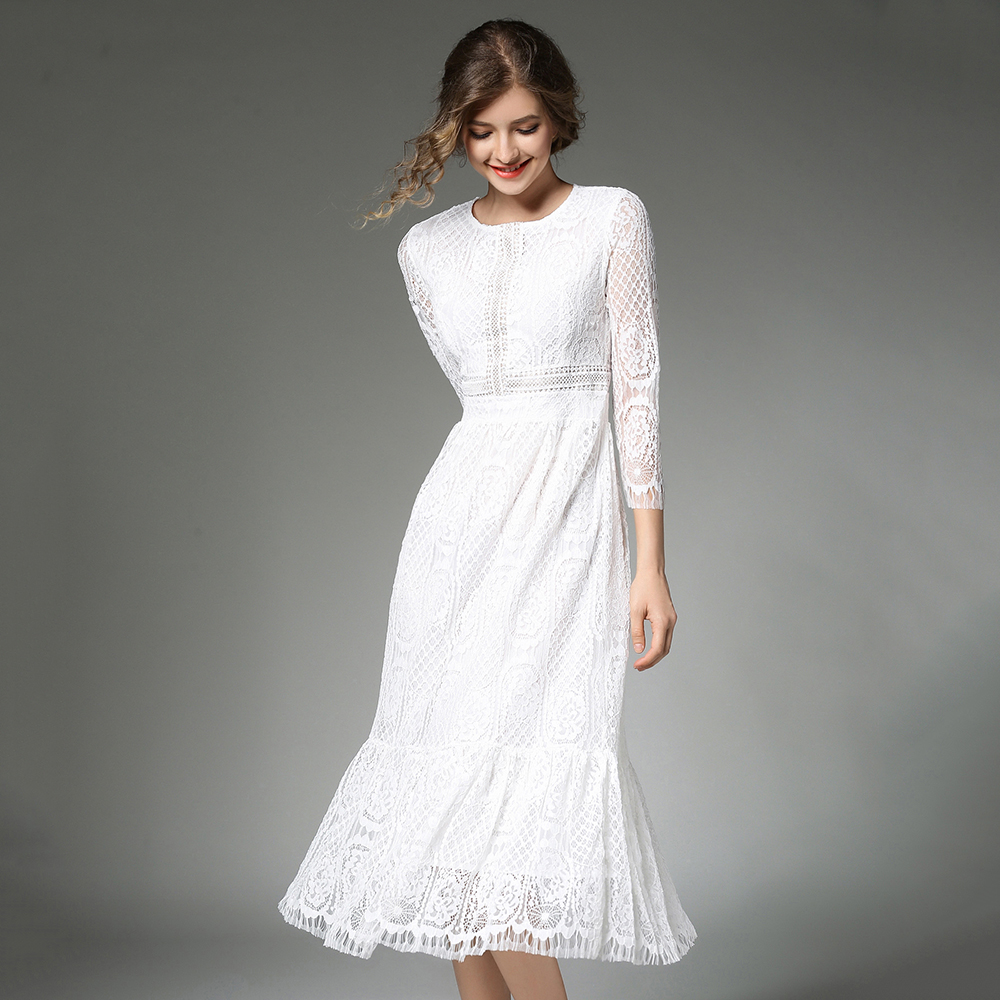 White Lace Dresses Women 2018 Hollow Out High Waist Vestido Mujer O-Neck Patchwork Dress Feminine Plus Size 3/4 Sleeve Robe N618
