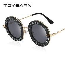 31a1f4ec03e6d TOYEARN Vintage lunettes de Soleil Rondes Femmes Rétro Marque Designer  Anglais Lettres Abeille En Métal Cadre Cercle Soleil Lune.