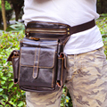 100% genuine leather waist phone bag men genuine leather waist bag with shoulder strap bag leather waist packs