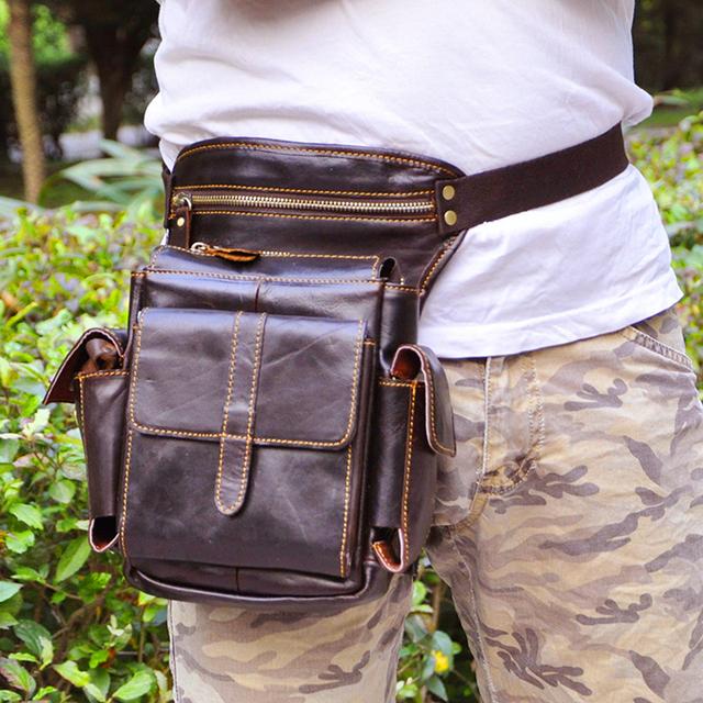 100% teléfono de la cintura de cuero genuino bolso de los hombres de cuero genuino bolso de la cintura con la correa de hombro de cuero bolsa de paquetes de la cintura