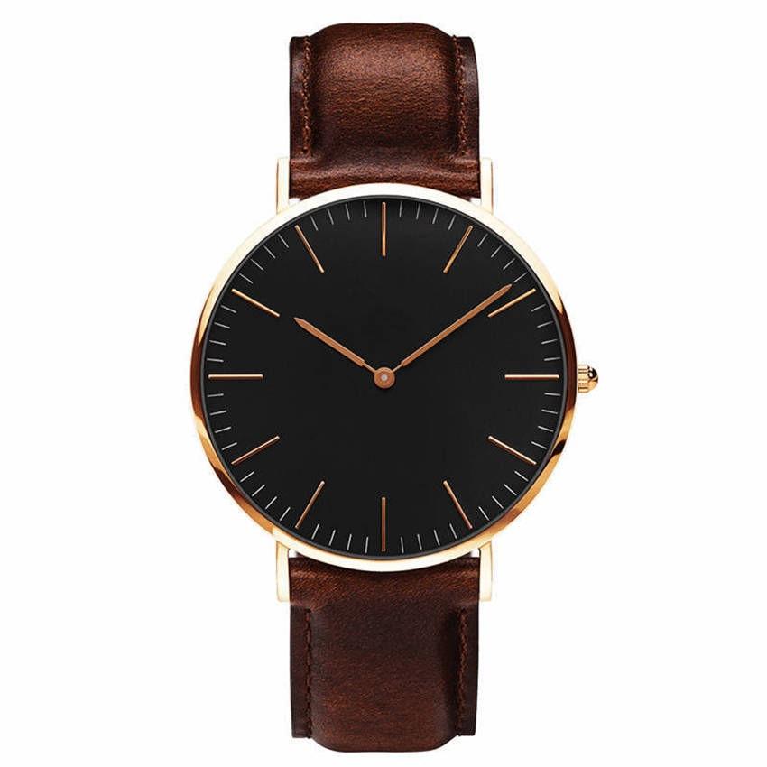 Ctpor Fashion Men's Watch Simple Style Men Quartz Clock Luxury Brand No Logo Design 6.9mm Ultra-thin Military Army Drop Shiping