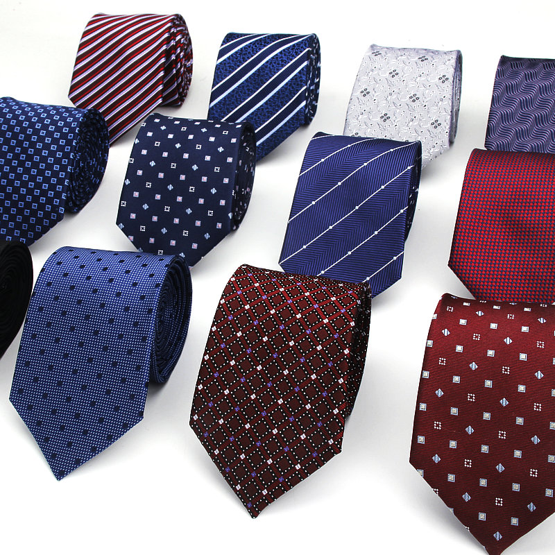 Brand New 100% Silk Ties For Men Classic Jacquard Dots Neck Ties For Man Blue Navy Stripe Necktie For Gift Party Plaid Suits Tie