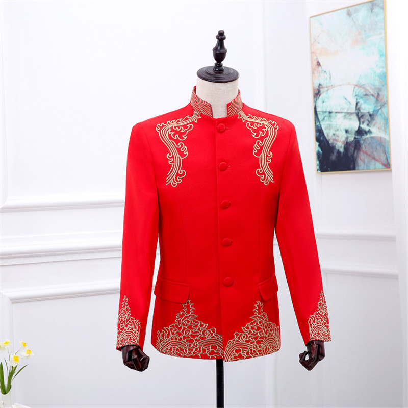 74479a871ae Red Chinese Tunic Mens Tunic Mandarin Collar Jacket with Embroidery Men  Wedding Suit Men Costume Chinese Collar Suit Jacket Photos: