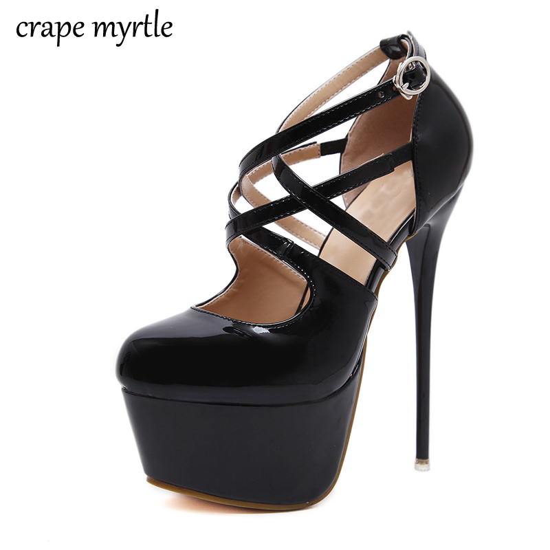 ankle strap heels 16CM sexy High Heels shoes Pumps women heels Party Shoes for Women Platform Pumps women office shoes YMA145 aiweiyi super high heels platform pumps ankle buckle strap 16cm stiletto high heels ladies wedding party dress shoes for women