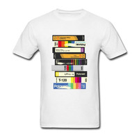 Cool Slim Fit Letter Printed T Shirts Video Tape 80 S Style T Shirts Music Customized