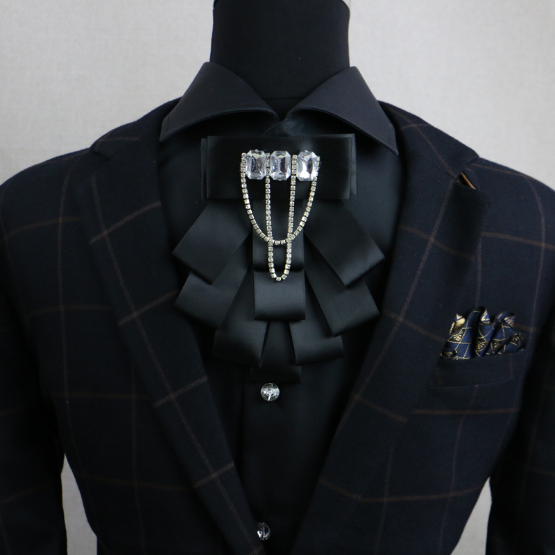 New Free Shipping fashion casual Mens Male wedding dress drill collar Ribbon Crystal Host MC Korean tie drill tassel On sale
