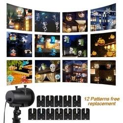 Ac110v 220 v 12 slides de natal projetor laser anime floco de neve projetor luz ao ar livre luz de discoteca halloween decoração festa luz