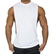 Men's solid cotton tank ops t shirts summer sleeveless fitness vest tee tops t shirts men bodybuilding black white sporting tank цена