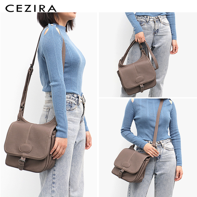 CEZIRA Fashion Shoulder Bags for Women Small Vegan Wash Leather Flap Bag Girl Flap Cover Buckle Casual Messenger Bag Lady Bags 1