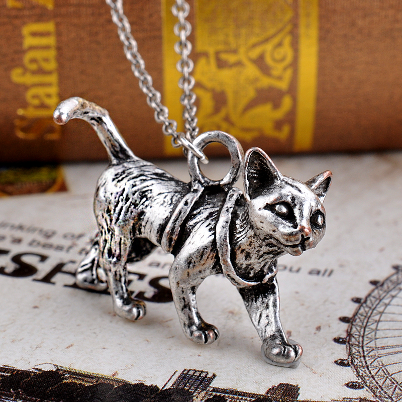 Wise Sphinx Cat Silver Boho Chic Kitty Collier Za Animal Jewelry Girl Gift Best Friend Necklace 1pc