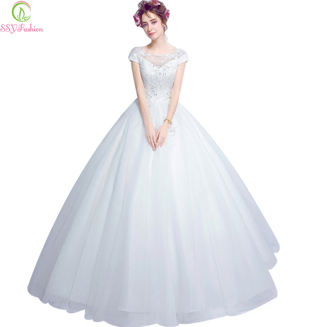 319bc1c0f9 Vestido de noiva 2017 ssyfashion princess bride sexy backless butterfly  white lace haft-line długie