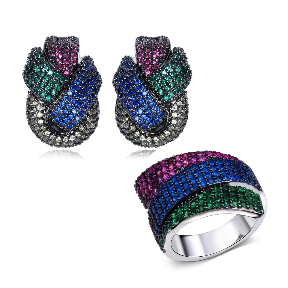 Colorful Party Fashion Hot Seller Full Zircon Crystals Trendy Cocktail  Jewelry Purple Blue Green Gift Girl Earrings And Ring Set