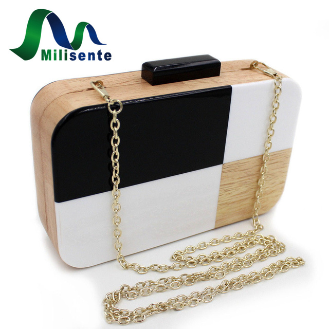 New Vintage Wooden Style Clutch Evening Lady Wedding Bag Girls Party Mini Handbag With Long Chain