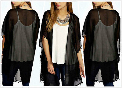 Sexy Women Oversized See Through Beach Wear Lace Tops Chiffon Blouse Bikini Cover Ups Chiffon Cardigan Swimwear