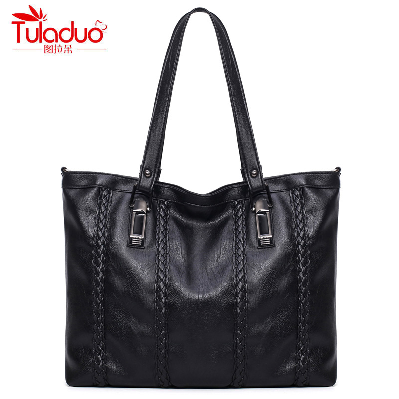 2017 Fashion Knitting Women Handbags High Quality PU Leather Ladies Shoulder Bags Famous Brand Black Women Casual Tote Bags fashion brand design sweet lady tote bags for women pu leather handbags high quality women shoulder bags ladies messenger bags