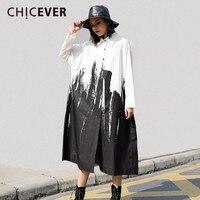CHICEVER 2018 New Spring Women Dress Shirt Long Sleeve Loose Big Size Hit Colors Black Dresses