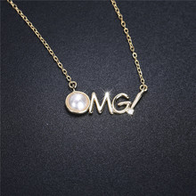 2019 Gilding Plate 925 Silver Word necklaces for women waterfresh pearl necklace women link chain nearround pearl necklace nude slender link necklace for women