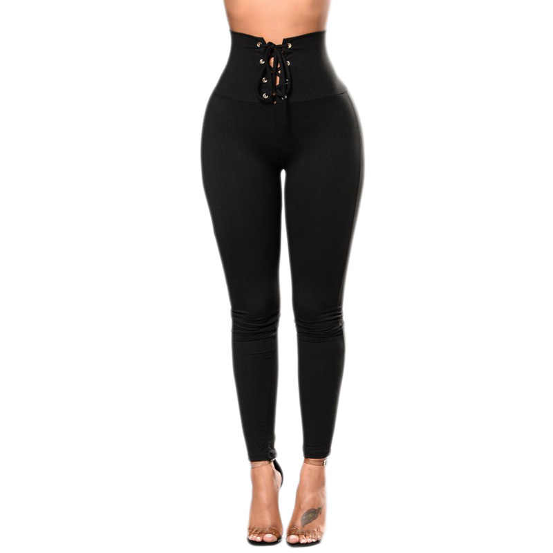 bdae9d911a2 Detail Feedback Questions about Black Lace up High Waist Cincher Leggings  Sexy Woman Hollow Out Strappy Leggings High Quality Butt Lifting Skinny  Leggings ...