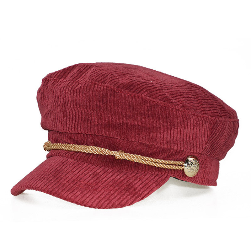 2019 Autumn Winter Warm Fashion Berets Corduroy Military Hat Women Vintage Winter Newsboy Hat Women Octagonal Caps Female Hats