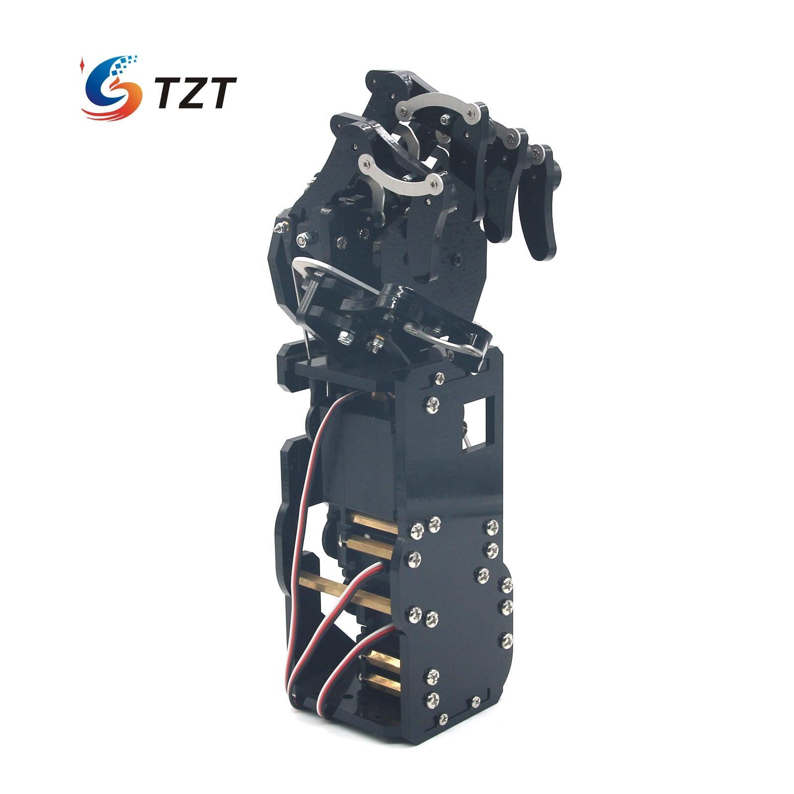 Robot Mécanique Bras Griffe Humanoïde Gauche Main Cinq Doigts avec Servos pour Robotique BRICOLAGE Assemblé