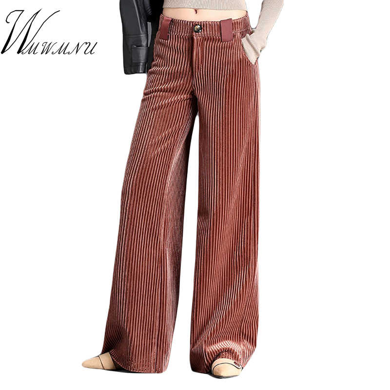 Women Autumn Winter Corduroy Wide Leg Pants 2018 High Quality High Waist Ladies Office Pants Plus Size 3XL Loose Casual Trousers