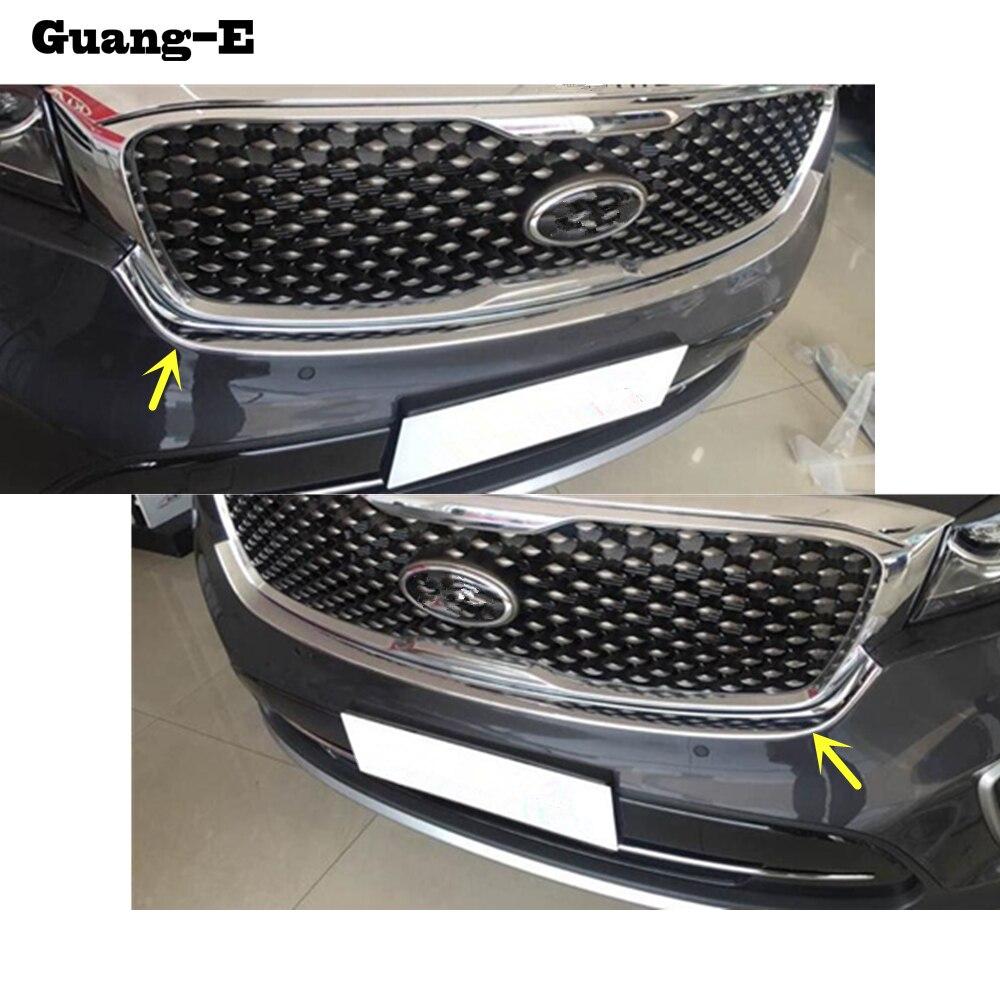 Voiture ABS chrome avant moteur Machine grille grille grille supérieure capot bâton couvercle garniture lampe 1 pièces pour Kia Sorento L 2015 2016 2017