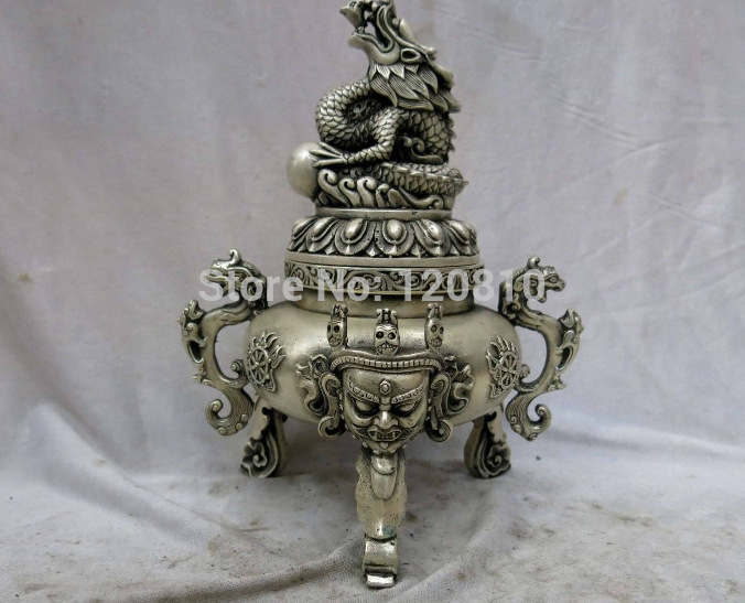 11 China silver carved finely buddha dragon play bead censer incense burner11 China silver carved finely buddha dragon play bead censer incense burner