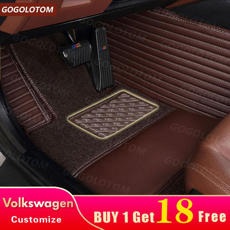 Custom Car Floor Mats for VW Volkswagen Passat B5 B6 Golf 6 7 Touran Tiguan Jetta Touran Carpet Rugs Auto Floor Mat 2006 2018