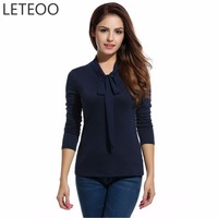 LETEOO 2017 Fashion Office Blouse Shirt Women Long Sleeve Bow Tie Collar Summer Top Female High