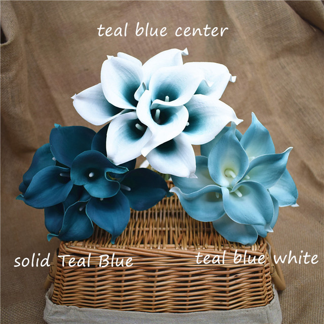 Oasis Teal Wedding Flowers Teal Blue Calla Lilies 10 stem Real Touch ...