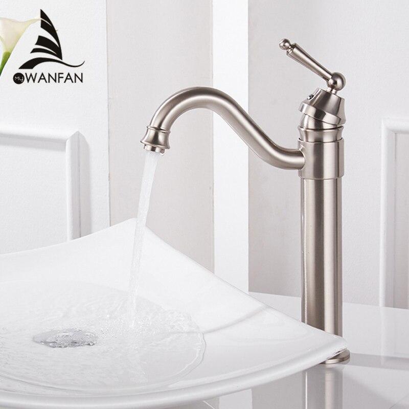 Robinets de lavabo plaqué or robinets de salle de bain montés sur pont robinets de salle de bain en laiton mélangeur grue Torneira robinet à poignée unique 6633
