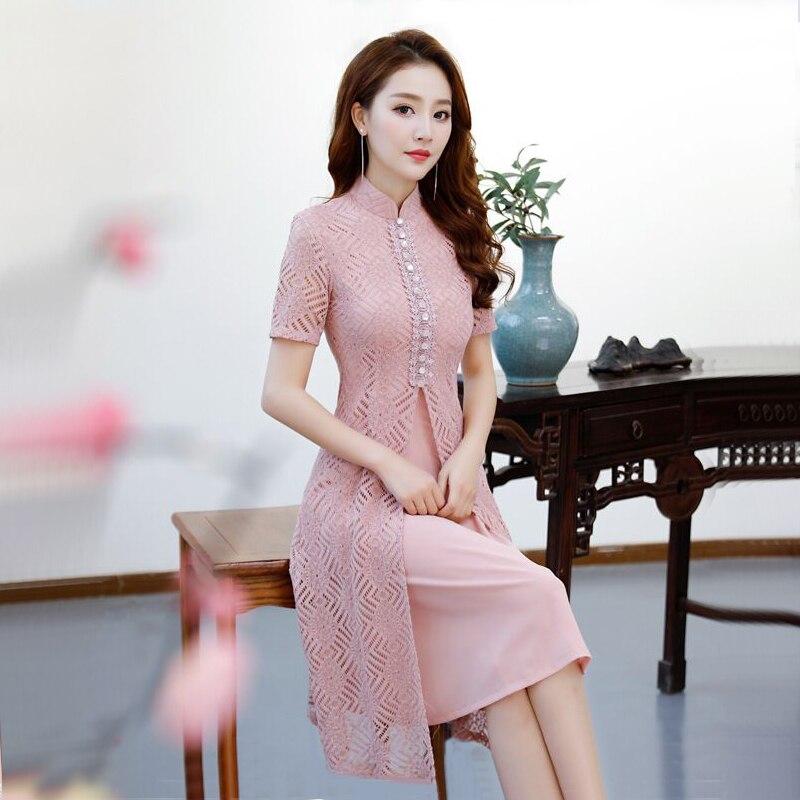 Kadın Giyim'ten Elbiseler'de Kısa Stil Pembe kadın Mini Cheongsam Yaz Çin Dantel Ince Qipao Elbise Yeni Varış Vestidos Boyutu S M L XL XXL XXXL 27510A'da  Grup 1