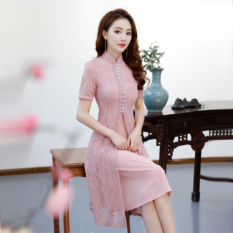 Short Style Pink Women's Mini Cheongsam Summer Chinese Lace Slim Qipao Dress New Arrival Vestidos Size S M L XL XXL XXXL 27510A женское платье other 2015 o vestidos s m l xl xxl