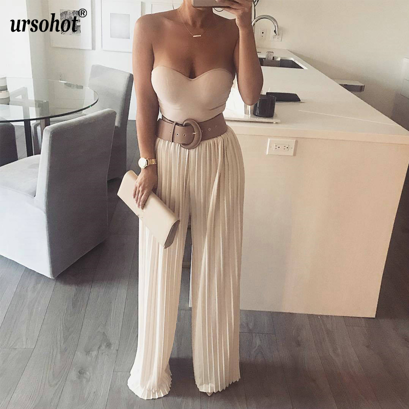 Ursohot Casual Elastic Waist Long   Pants   Women Pleated Elegant Full Length Trousers Brief   Pant   High Waist   Wide     Leg     Pants   Women