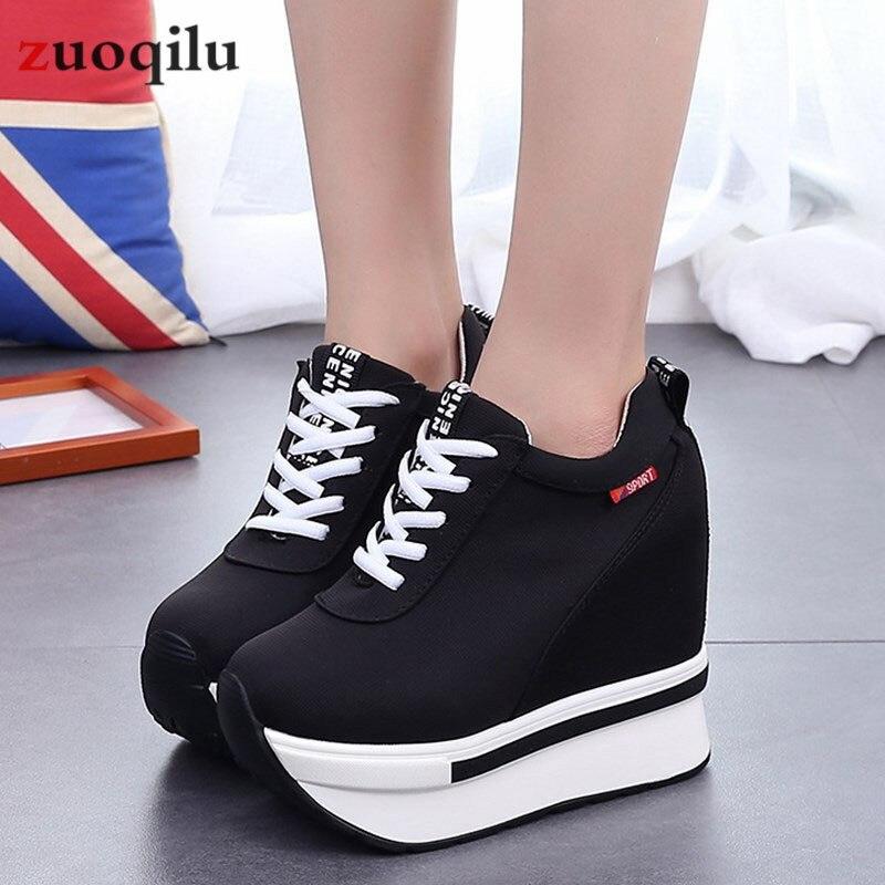 Plate-forme femmes chaussures 2019 hauteur augmentant toile compensées plate-forme talons chaussures baskets femmes chaussures décontractées Chaussure Femme