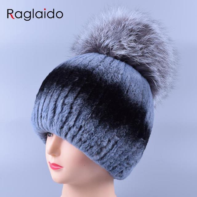 57d01c67dde Raglaido Fur Hat Women Rex Rabbit Fur Knit Beanie Hat with Fox Fur Top  napoli Pompom