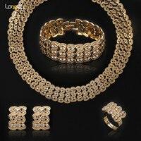 Nuovo oro Africano-color cristallo Austriaco insieme dei monili floreale, set in Africana dubai gioielli da sposa orecchini collana delle donne