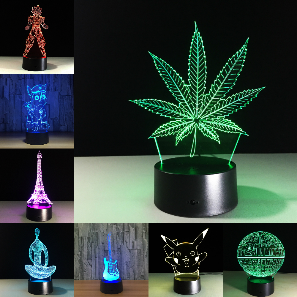 Maple Leaf 3D Visual Illusion Lamp Transparent Acrylic Night Light LED Lamp 7 Color Changing Touch Table Lamp Kids Lava Lamp color changing dolphin shape 3d visual led night light