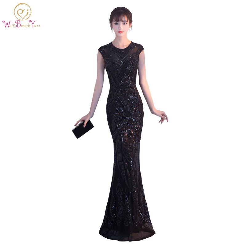 Walk Beside You Bling Evening Dresses Black O-neck Mermaid Prom ...