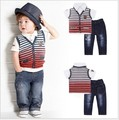 2016 new European style three piece suit for boys striped vest and shirt jeans shorts cotton fashion suit for boys hot sale