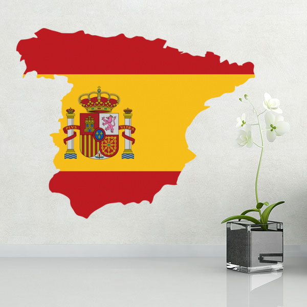 Flag map of spain wall vinyl sticker custom made home decoration wall sticker wedding decoration pvc wallpaper fashion design in wall stickers from home