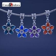 CasaPandora 4 Colors 925 Plated Five Leaf Clover Shape Pendant Fit Bracelet Charm DIY Enamel Bead Making Pingente Berloque