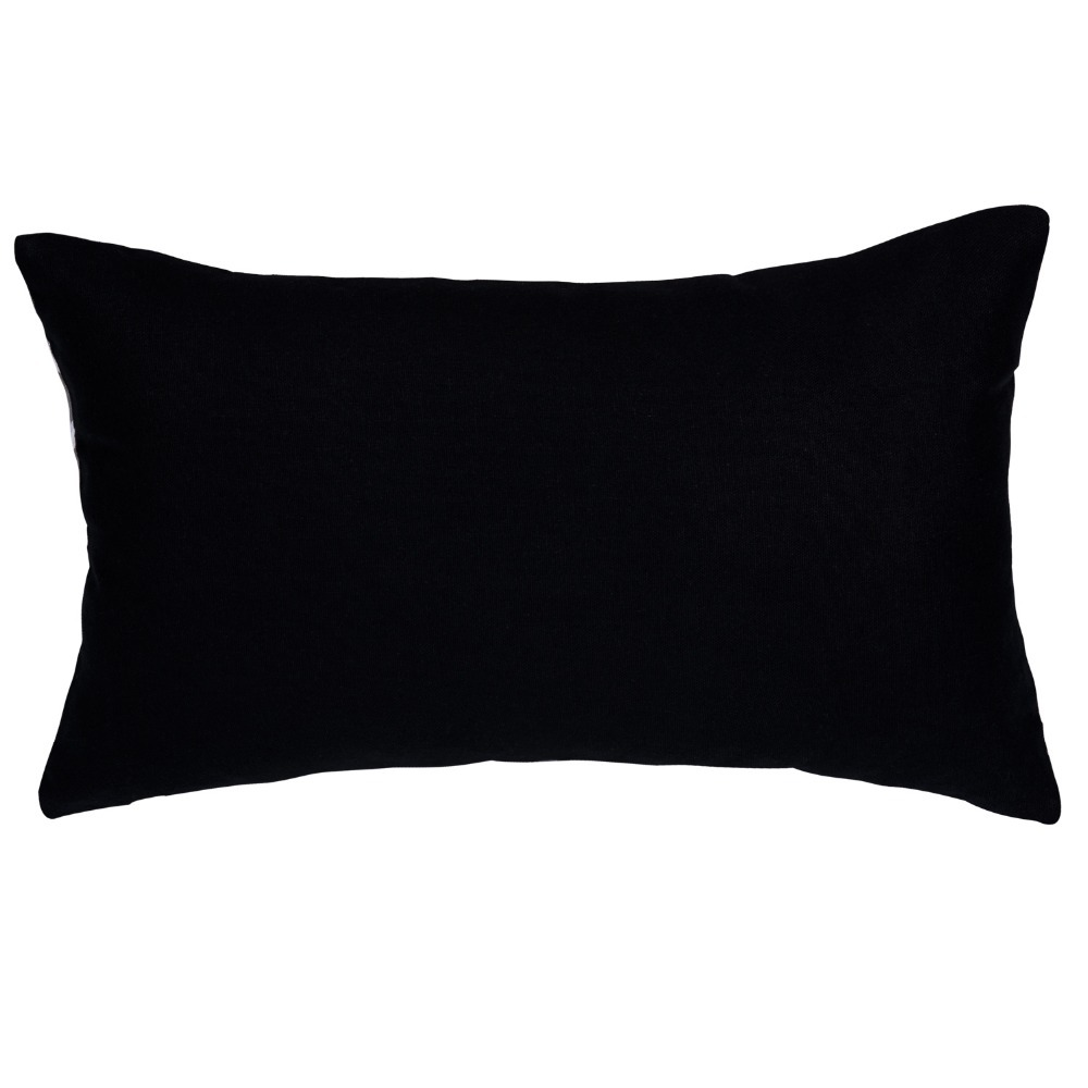 Modern Decorative Cushions Black Polyester Striped Rectangle ...