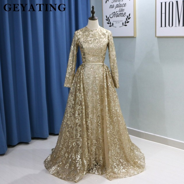 c15d66668f3 Yousef Aljasmi Muslim Evening Dresses 2019 Long Sleeves Mermaid Prom Dresses  Arabic Detachable Train Women Formal Party Gowns