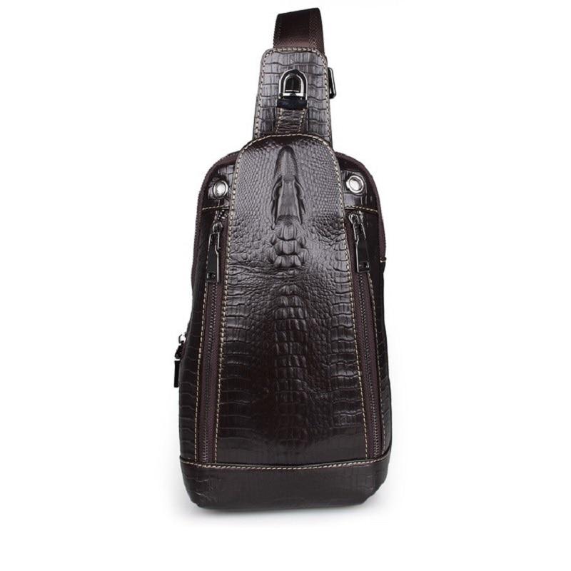100% Genuine Leather Alligator Pattern Vintage Funny Pack For Men Chest Bag Pack Shoulder Messenger Bag Handbag 7300