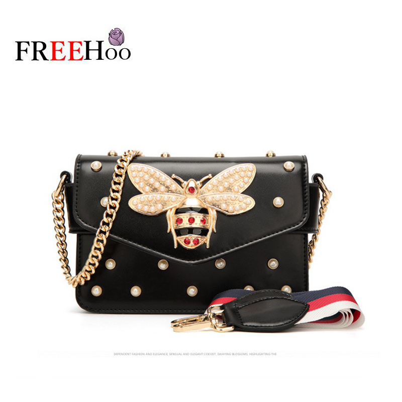 Fashion Bags For Women Messenger Bag New Brand Pu Leather Female Shoulder Bag Luxury Diamond Little Bee Woman Strap Bags
