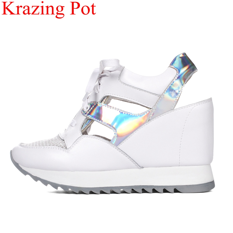 2019 fashion round thick bottom high heels wedge women sandals lace up platform vacation handmade preppy