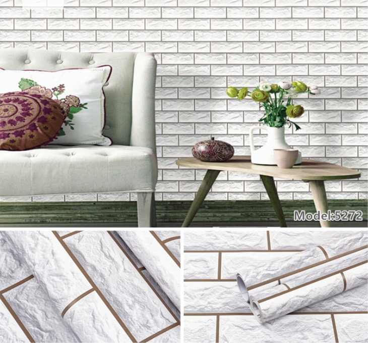 retro vintage 3D brick wall paper brick pvc wall sticker brick self-adhesive wallpaper for home decoration in 45cm*10m per roll