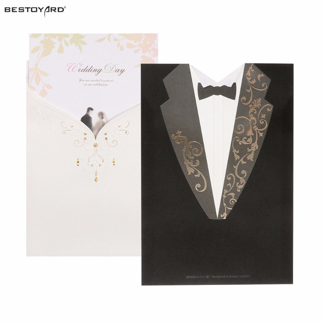 A Set Of Bridal And Bridegroom Dress Wedding Invitation Cards Laser For Enement